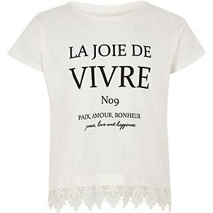 Wit T-shirt met gehaakte zoom en 'vivre'-print voor meisjes