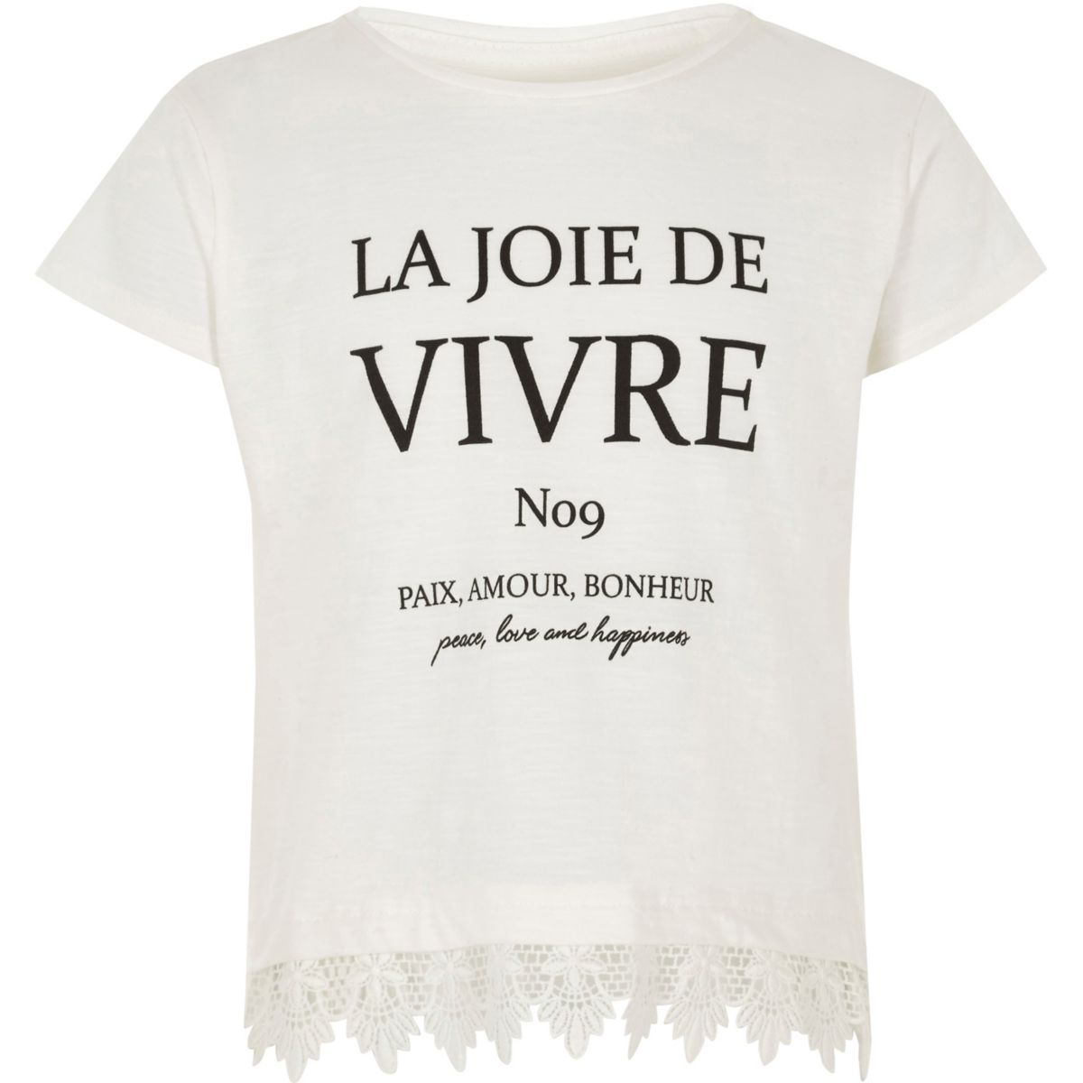 Girls white 'vivre' crochet hem T-shirt