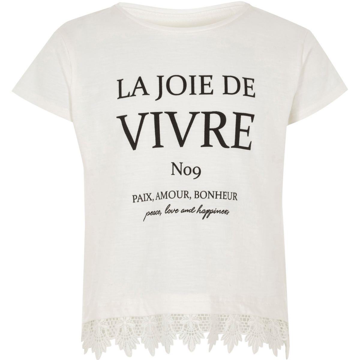 Girls white 'vivre' crochet hem T-shirt