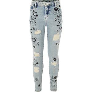 Amelie - Blauwe skinny jeans met doodle-print voor meisjes