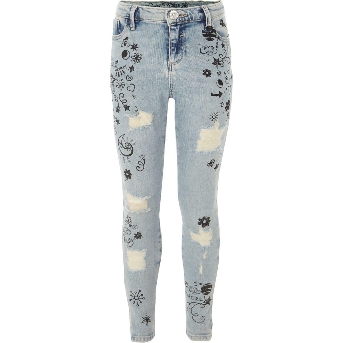 Amelie – Blaue Skinny Jeans mit Doodle-Print