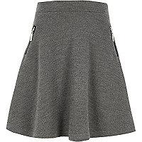 Girls grey side zip ribbed skater skirt