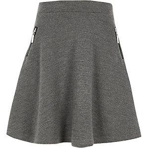 Graues Skater-Kleid mit Reißverschluss