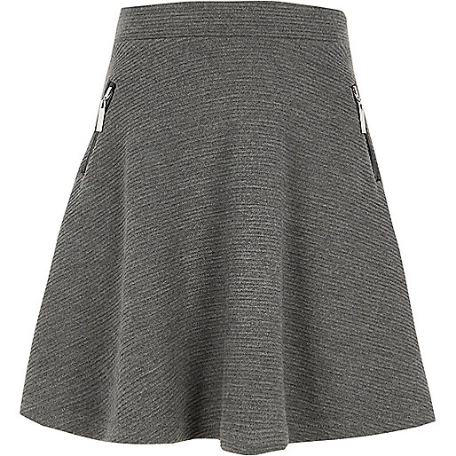 Girls grey side zip ribbed skater skirt