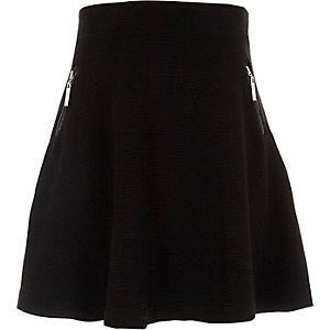 Girls black side zip ribbed skater skirt