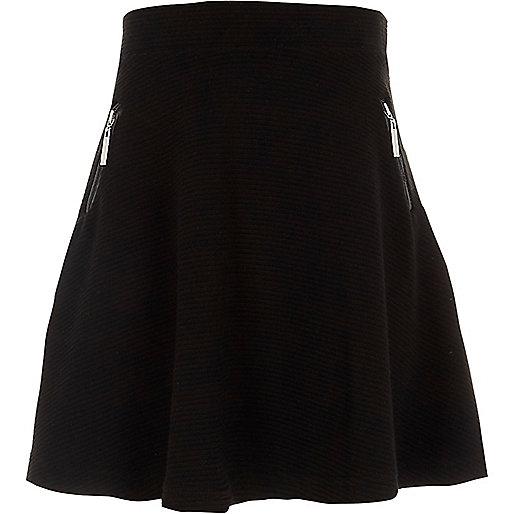 Girls black side zip ribbed skater skirt