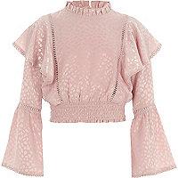 Girls pink satin textured frill sleeve top