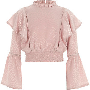 Girls pink satin textured frill sleeve top