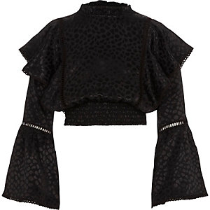 Girls black satin print frill bell sleeve top
