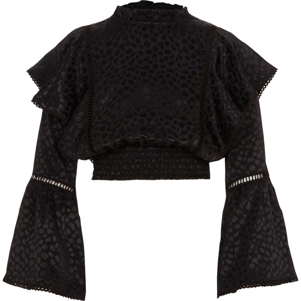 Girls black satin print frill bell sleeve top