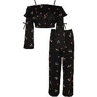 Girls black floral bardot palazzo outfit