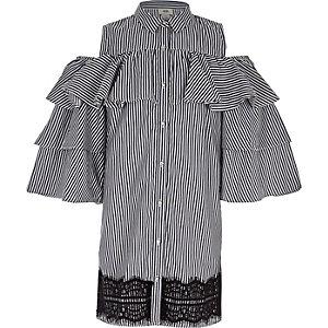 Robe chemise rayée bleu marine à manches à volants pour fille