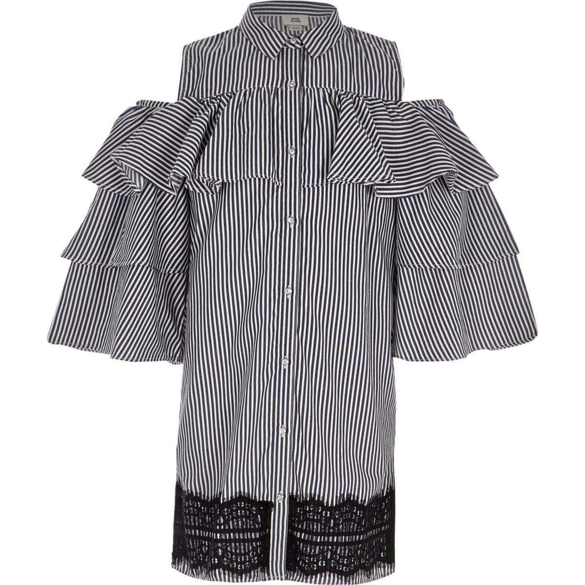 Girls navy stripe frill sleeve shirt dress