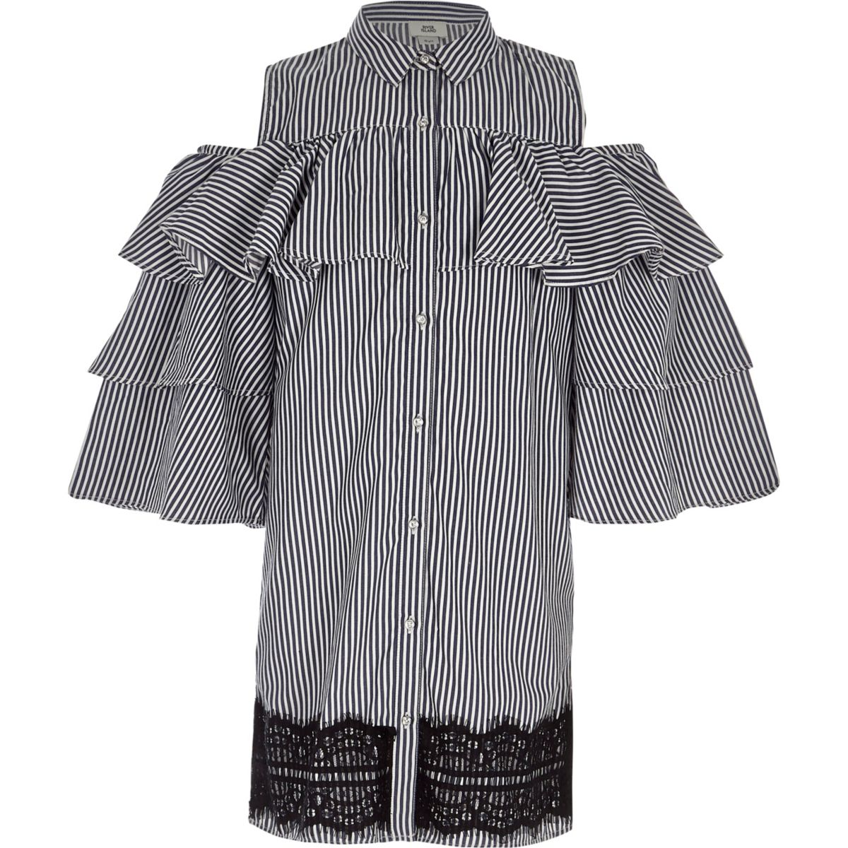 Girls navy stripe frill sleeve shirt dress