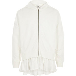Girls white woven hem zip up hoodie