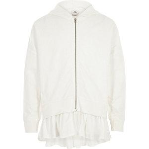 Witte hoodie met rits en geweven zoom voor meisjes
