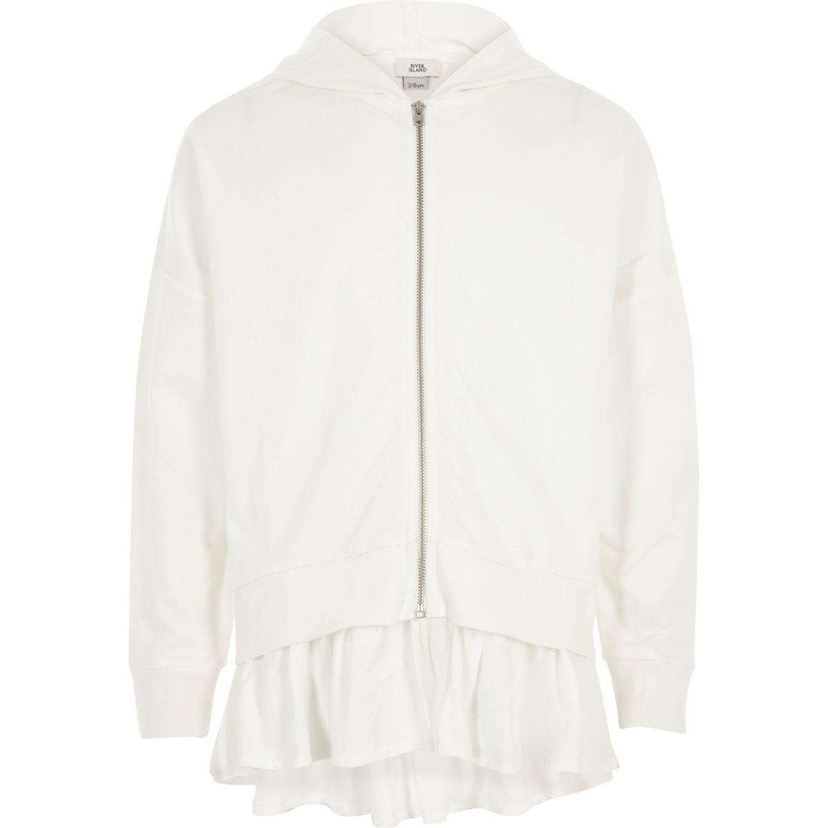 Girls white woven hem zip up hoodie