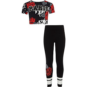 Outfit met zwarte gebloemde crop top met 'Paris'-print voor meisjes