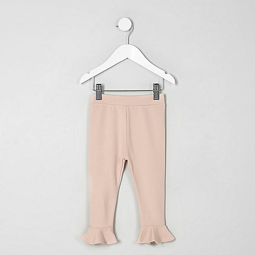 Mini girls pink frill hem leggings