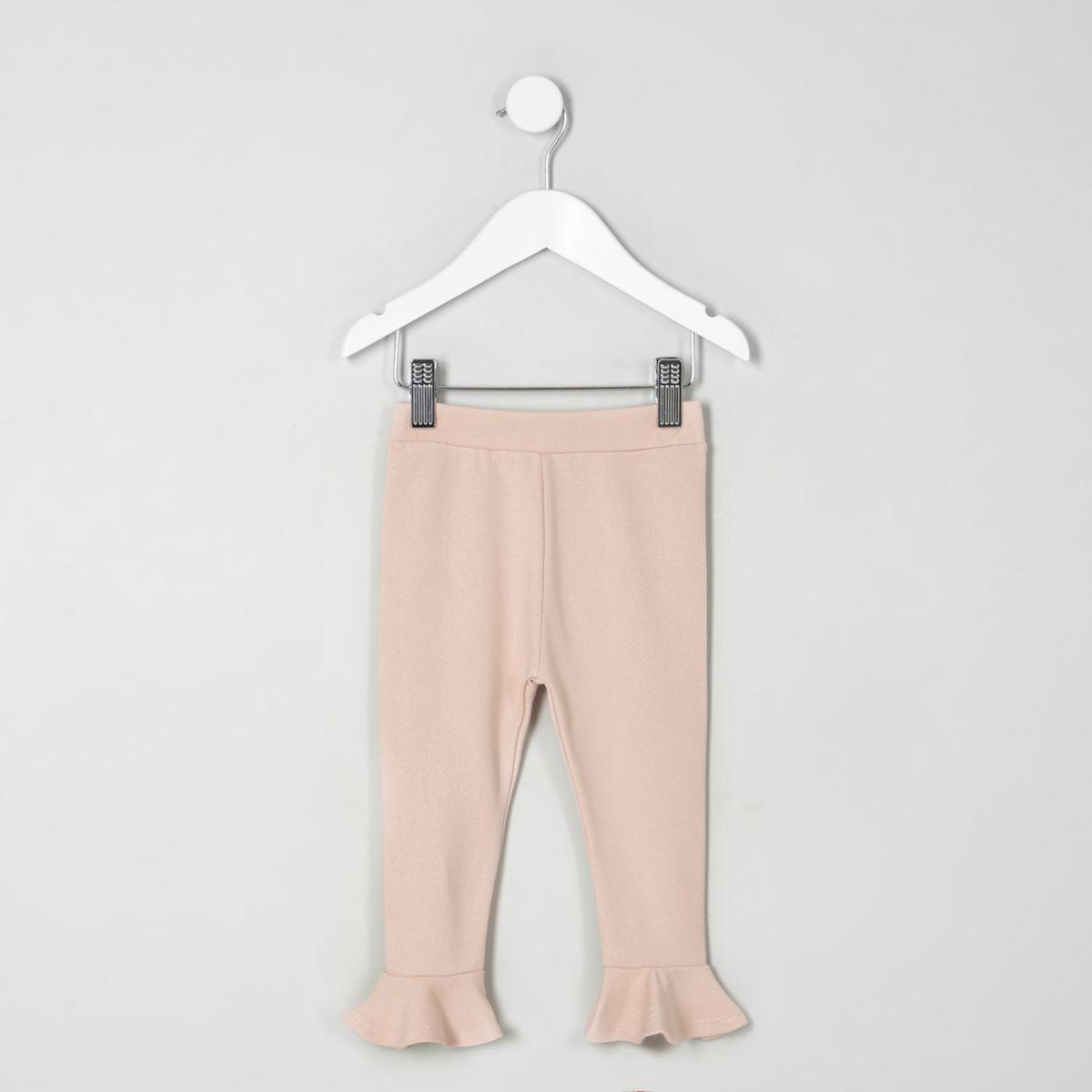 Mini girls pink frill hem leggings