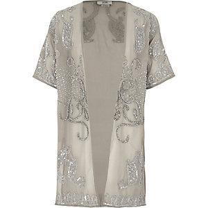 Girls grey embellished longline kimono