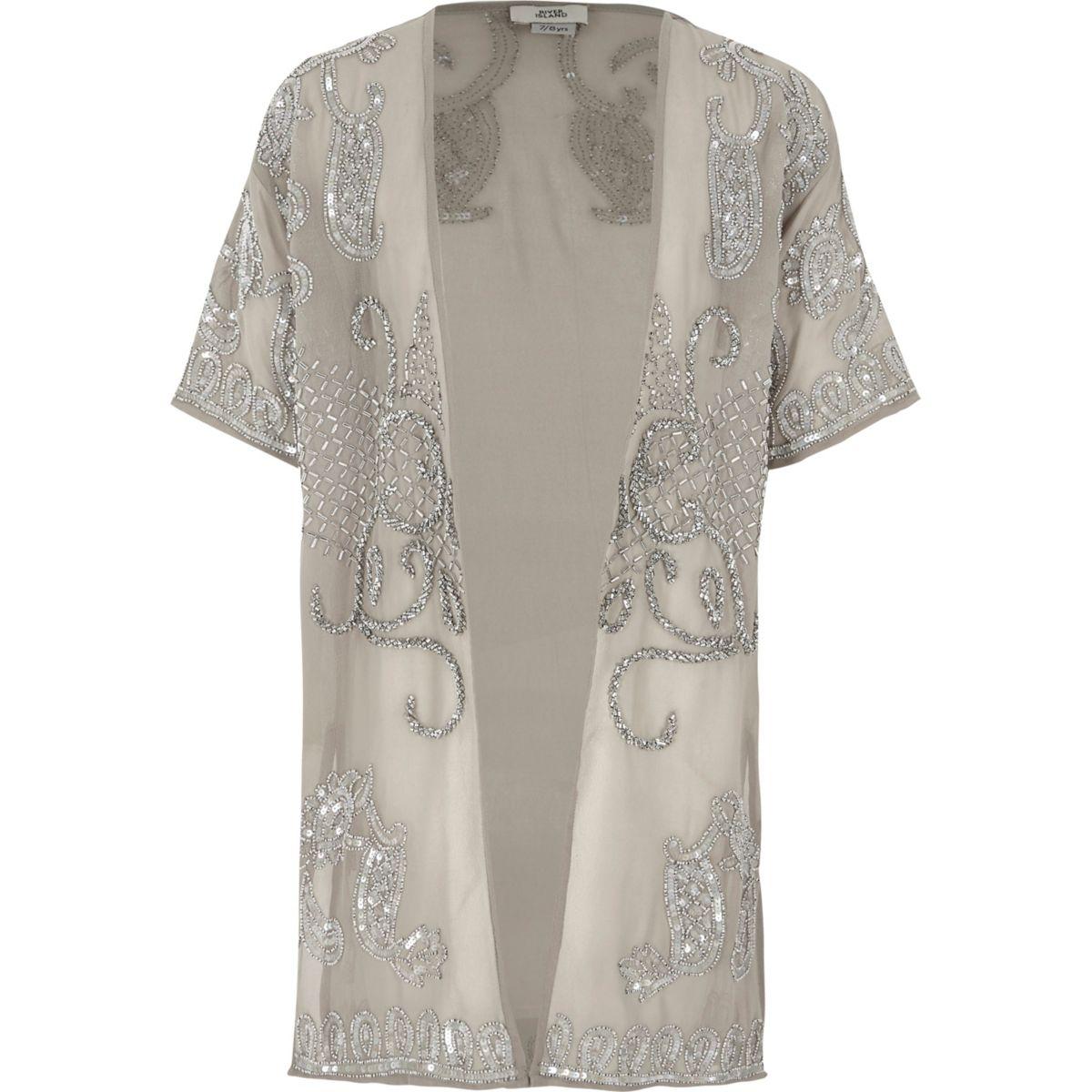 Grauer, langer Kimono