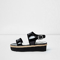 Girls black flatform sandals