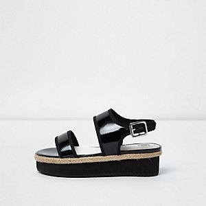 Zwarte sandalen met plateauzool voor meisjes