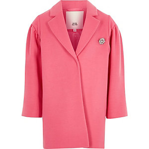 Girls pink puff sleeve jewel brooch coat