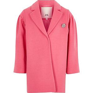 Roze jas met pofmouwen en juwelen broche voor meisjes