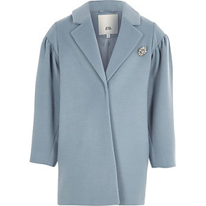 Girls blue puff sleeve jewel brooch coat