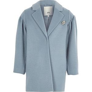 Blauwe jas met pofmouwen en juwelen broche voor meisjes