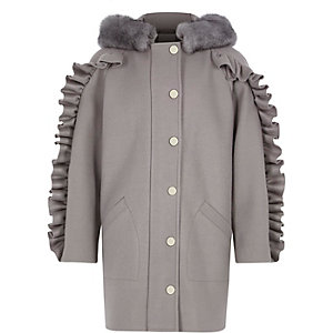 Girls grey frill sleeve faux fur hooded coat