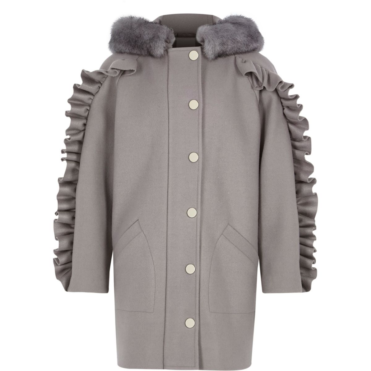 Girls grey frill sleeve faux fur hooded coat - Coats - Coats ...