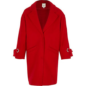 Girls red tie cuff coat