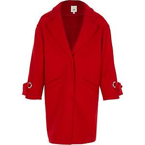 Girls red tie cuff coat