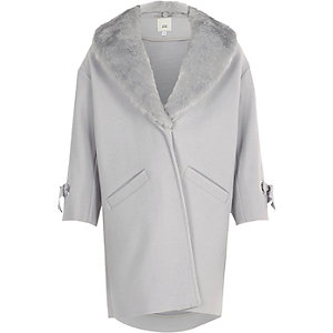 Girls light grey faux fur trim coat