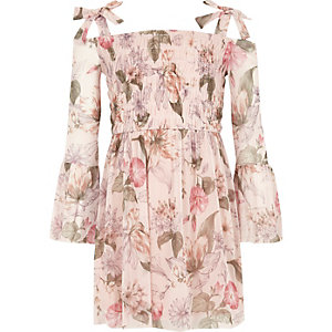 Girls pink floral bell sleeve bardot dress