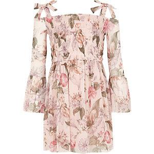 Robe Bardot à fleurs rose avec manches évasées fille