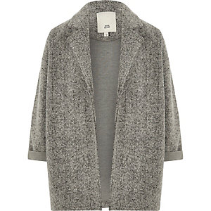 Girls grey textured jersey blazer