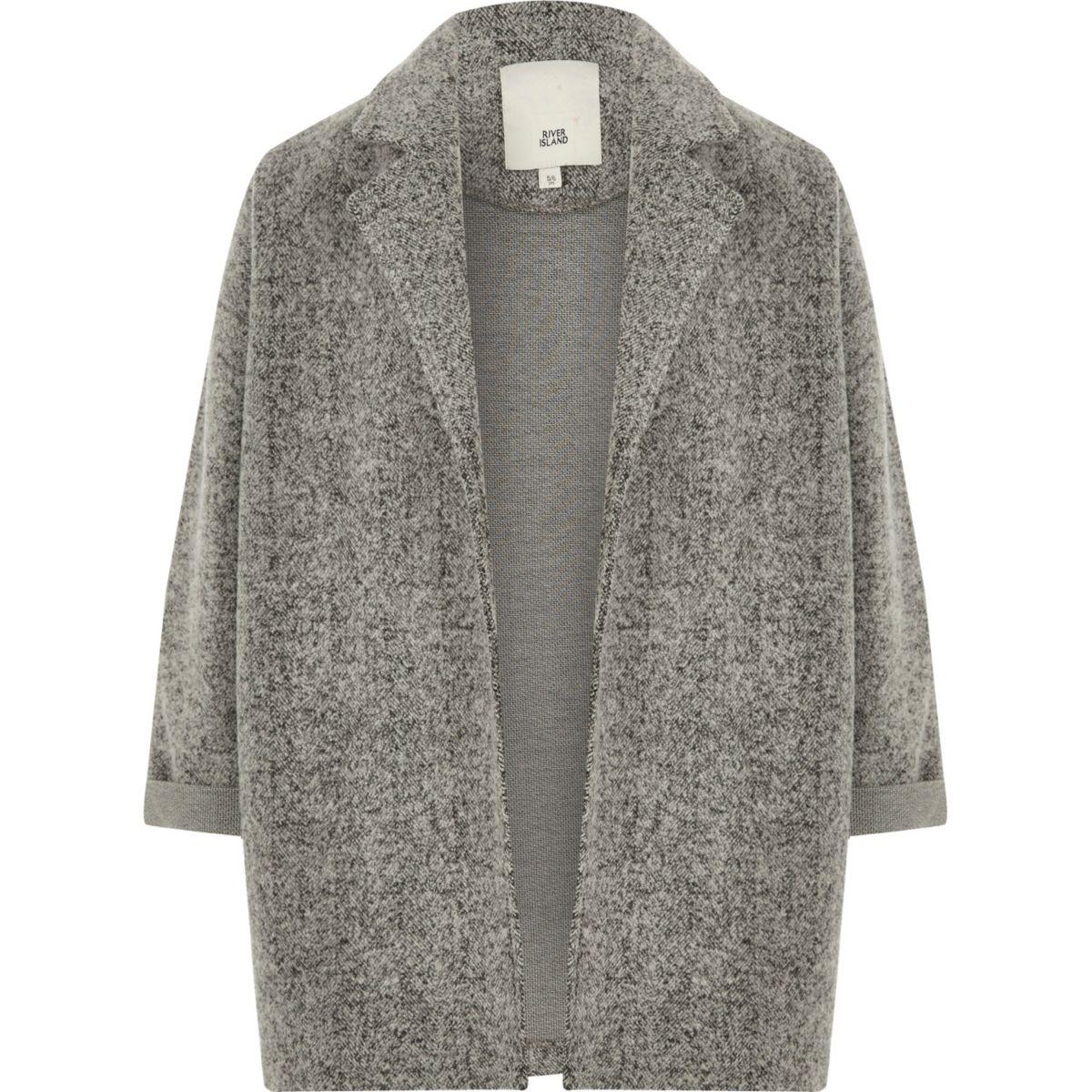 Girls grey textured jersey blazer