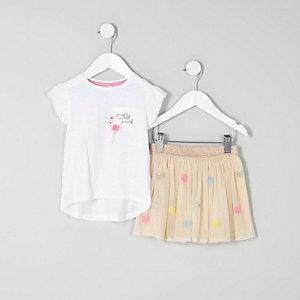 Mini - T-shirt met flamingoprint en tutu voor meisjes
