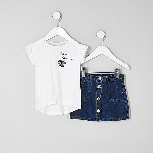 Mini girls 'mini mermaid' denim skirt outfit