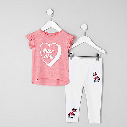 Mini girls red frill sleeve T-shirt outfit