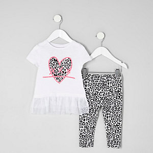 Mini girls white leopard heart T-shirt outfit