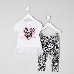 Mini - Wit T-shirt met luipaard- en hartprint voor meisjes