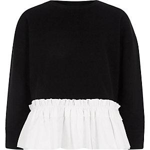 Schwarzes Sweatshirt mit Popelinsaum