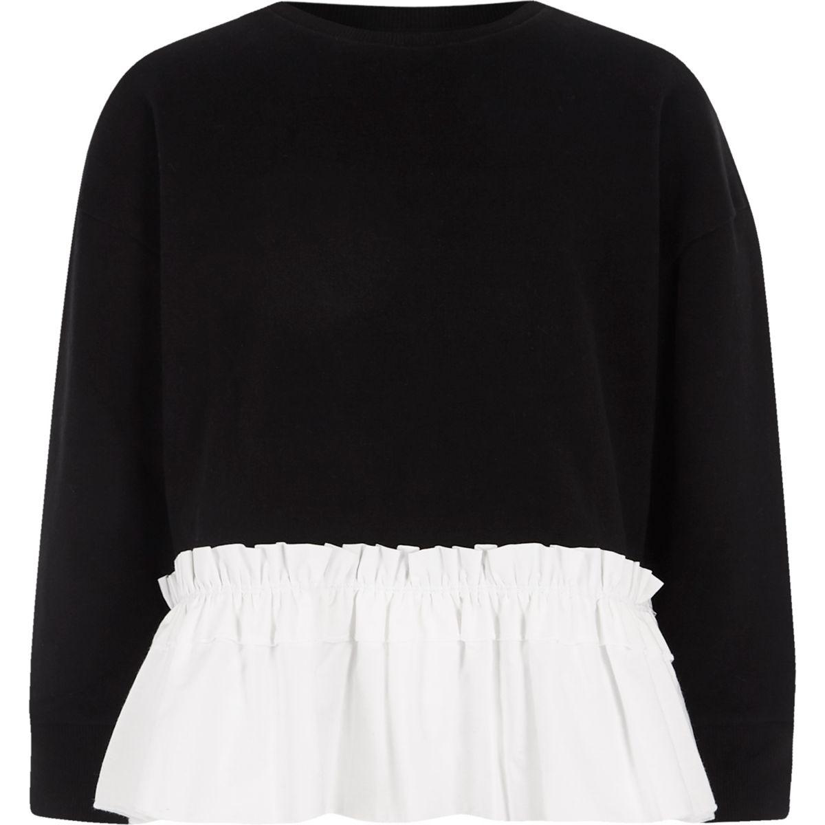Girls black contrast poplin hem sweatshirt