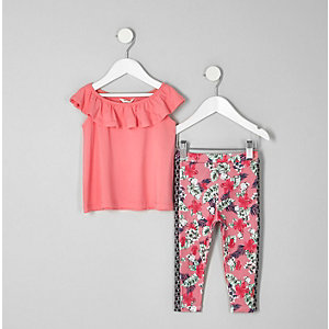 Outfit bestaande uit bardottop en legging met tropische print voor meisjes
