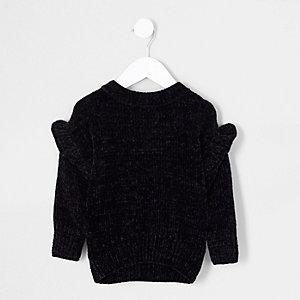 Schwarzer Chenille-Pullover mit Rüschen